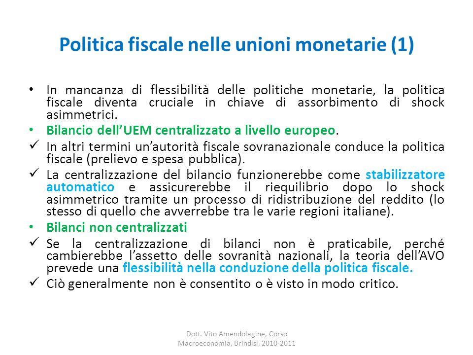 Politica fiscale nelle unioni monetarie (1) In mancanza di flessibilità delle politiche monetarie, la politica fiscale diventa cruciale in chiave di assorbimento di shock asimmetrici.