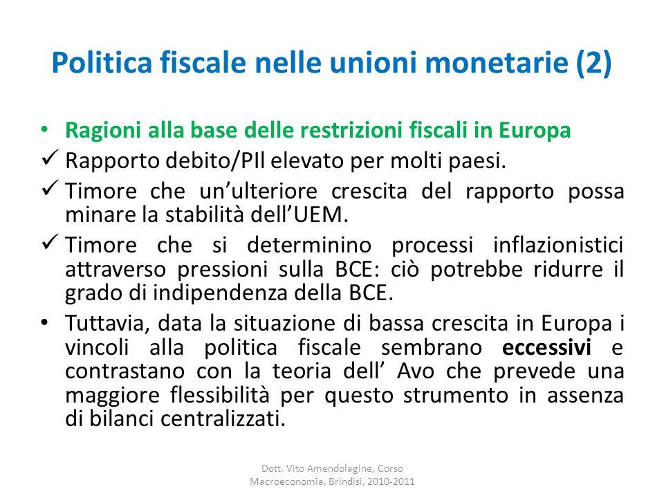 Politica fiscale nelle unioni monetarie (2) Ragioni alla base delle restrizioni fiscali in Europa Rapporto debito/PIl elevato per molti paesi.