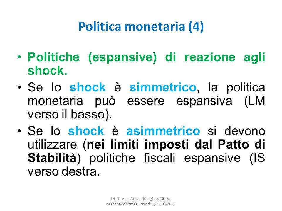 Politica monetaria (4) Politiche (espansive) di reazione agli shock.