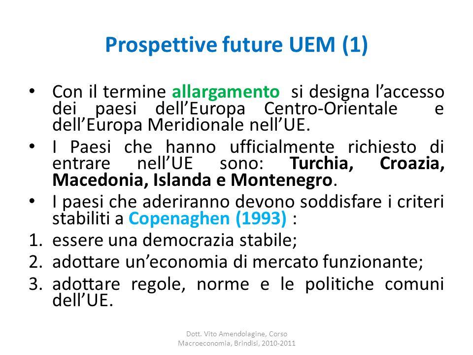 Prospettive future UEM (1) Con il termine allargamento si designa l'accesso dei paesi dell'Europa Centro-Orientale e dell'Europa Meridionale nell'UE.
