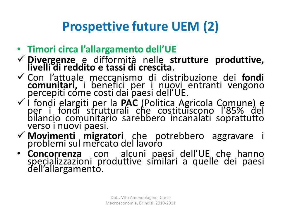 Prospettive future UEM (2) Timori circa l'allargamento dell'UE Divergenze e difformità nelle strutture produttive, livelli di reddito e tassi di crescita.