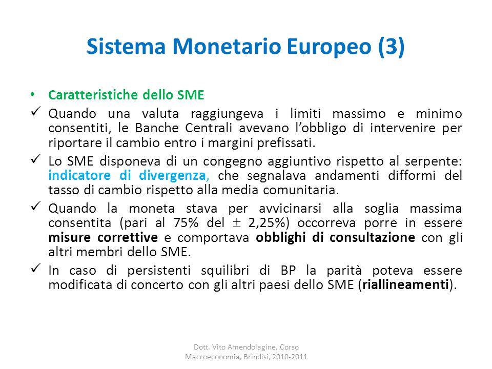 Sistema Monetario Europeo (3) Caratteristiche dello SME Quando una valuta raggiungeva i limiti massimo e minimo consentiti, le Banche Centrali avevano l'obbligo di intervenire per riportare il cambio entro i margini prefissati.