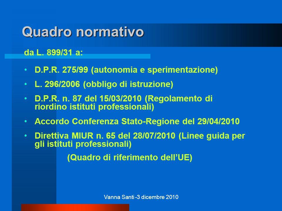 Vanna Santi -3 dicembre 2010 Quadro normativo da L.