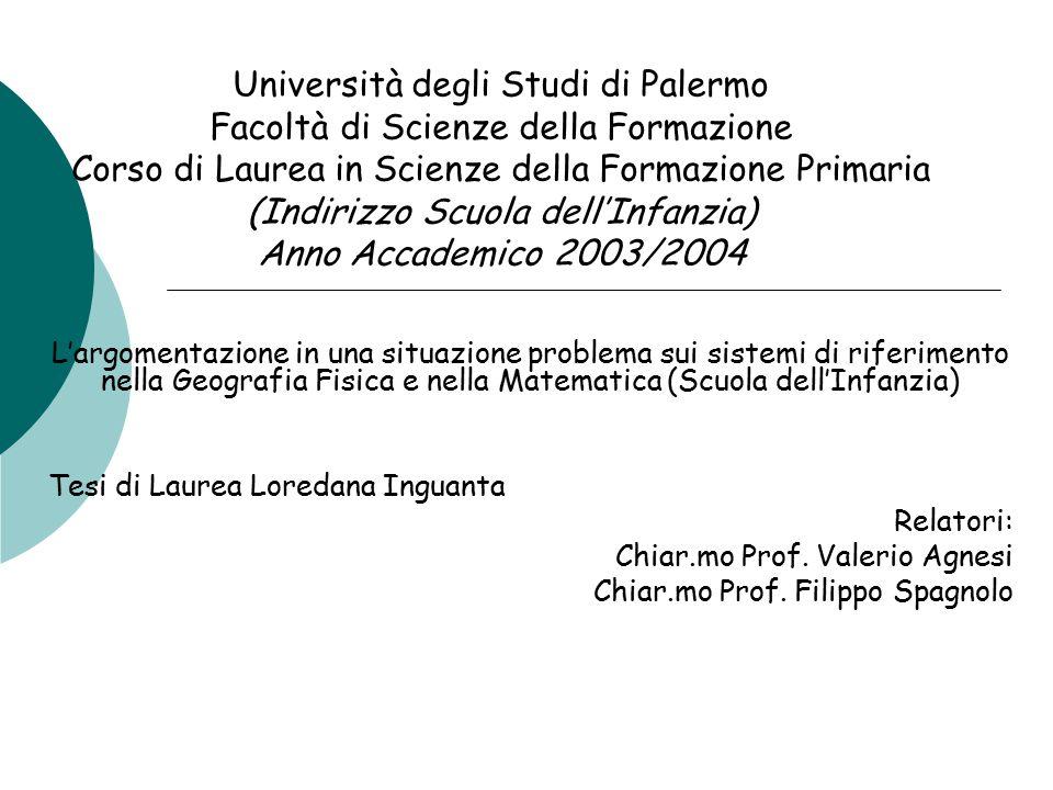 Università degli Studi di Palermo Facoltà di Scienze della Formazione Corso di Laurea in Scienze della Formazione Primaria (Indirizzo Scuola dell'Infa