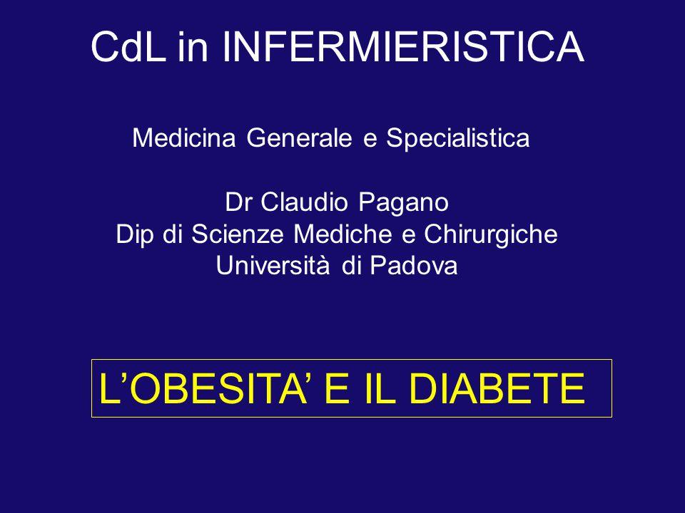 L'OBESITA' E IL DIABETE CdL in INFERMIERISTICA Medicina Generale e Specialistica Dr Claudio Pagano Dip di Scienze Mediche e Chirurgiche Università di