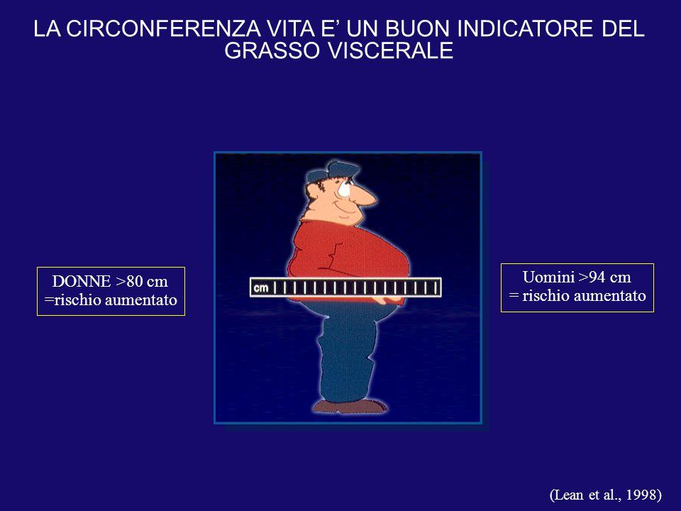 LA CIRCONFERENZA VITA E' UN BUON INDICATORE DEL GRASSO VISCERALE (Lean et al., 1998) Uomini >94 cm = rischio aumentato DONNE >80 cm =rischio aumentato