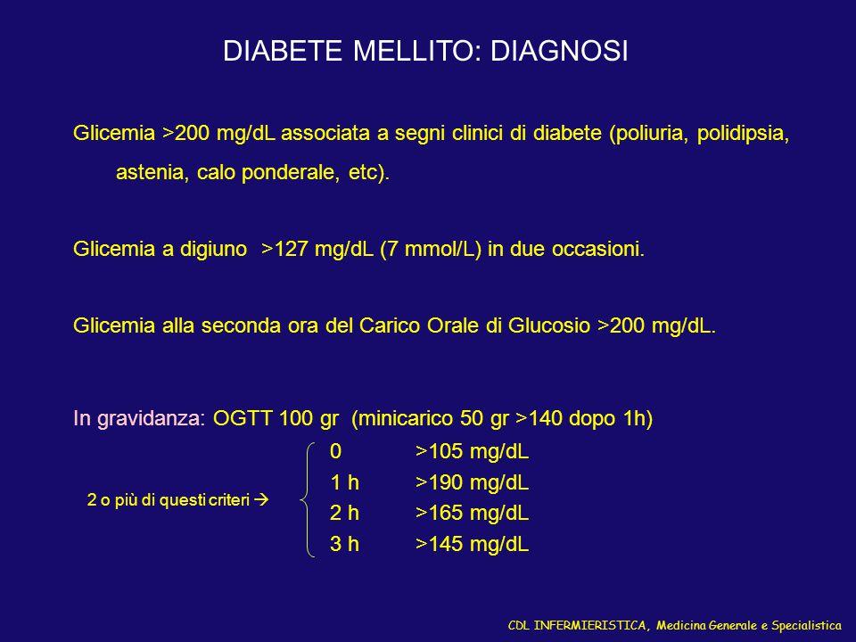 CDL INFERMIERISTICA, Medicina Generale e Specialistica DIABETE MELLITO: DIAGNOSI Glicemia >200 mg/dL associata a segni clinici di diabete (poliuria, p