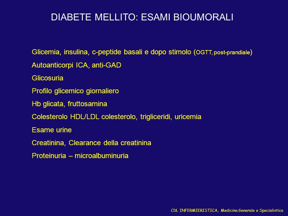 CDL INFERMIERISTICA, Medicina Generale e Specialistica DIABETE MELLITO: ESAMI BIOUMORALI Glicemia, insulina, c-peptide basali e dopo stimolo ( OGTT, p