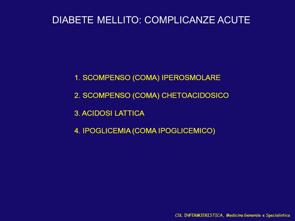 CDL INFERMIERISTICA, Medicina Generale e Specialistica DIABETE MELLITO: COMPLICANZE ACUTE 1. SCOMPENSO (COMA) IPEROSMOLARE 2. SCOMPENSO (COMA) CHETOAC