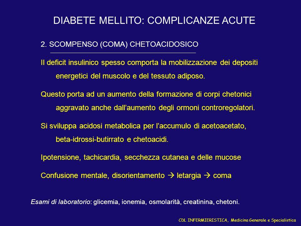 CDL INFERMIERISTICA, Medicina Generale e Specialistica DIABETE MELLITO: COMPLICANZE ACUTE 2. SCOMPENSO (COMA) CHETOACIDOSICO Il deficit insulinico spe