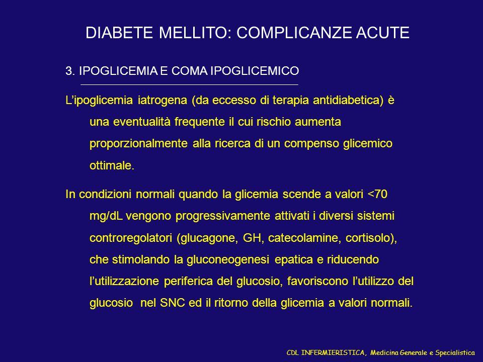 CDL INFERMIERISTICA, Medicina Generale e Specialistica DIABETE MELLITO: COMPLICANZE ACUTE 3. IPOGLICEMIA E COMA IPOGLICEMICO L'ipoglicemia iatrogena (