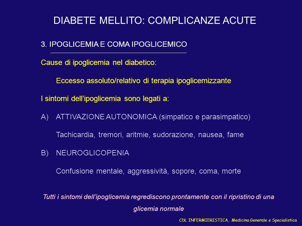 CDL INFERMIERISTICA, Medicina Generale e Specialistica DIABETE MELLITO: COMPLICANZE ACUTE 3. IPOGLICEMIA E COMA IPOGLICEMICO Cause di ipoglicemia nel