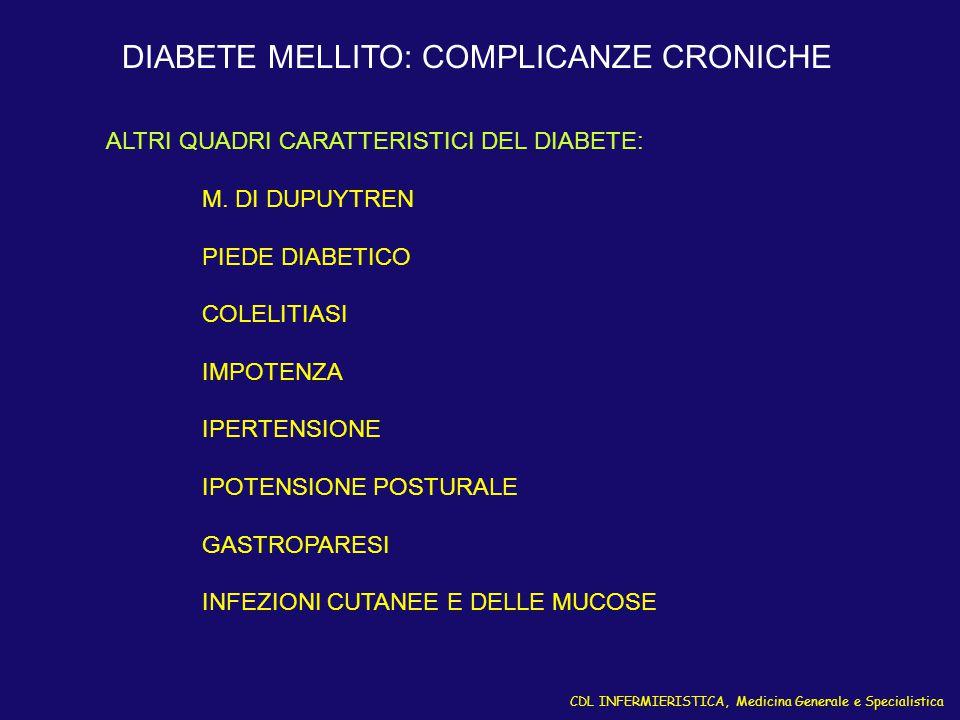 CDL INFERMIERISTICA, Medicina Generale e Specialistica DIABETE MELLITO: COMPLICANZE CRONICHE ALTRI QUADRI CARATTERISTICI DEL DIABETE: M. DI DUPUYTREN