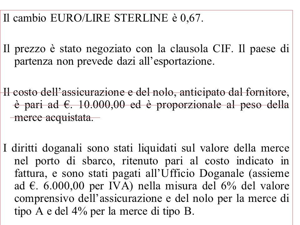 Il cambio EURO/LIRE STERLINE è 0,67. Il prezzo è stato negoziato con la clausola CIF. Il paese di partenza non prevede dazi all'esportazione. Il costo