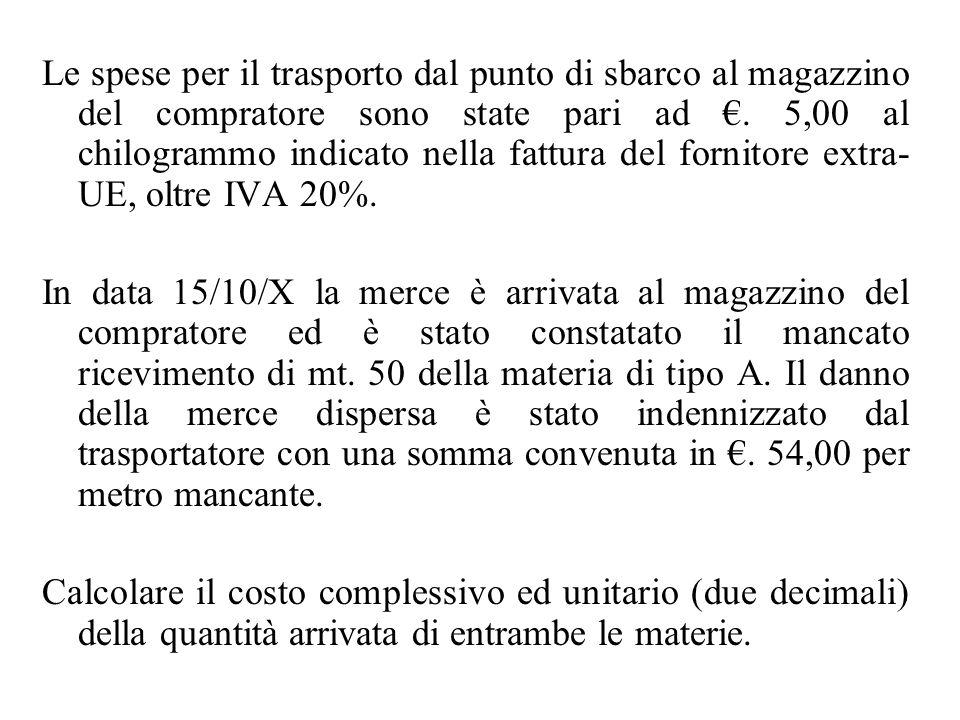 Le spese per il trasporto dal punto di sbarco al magazzino del compratore sono state pari ad €. 5,00 al chilogrammo indicato nella fattura del fornito