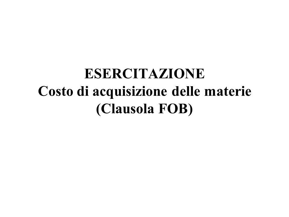 ESERCITAZIONE Costo di acquisizione delle materie (Clausola FOB)