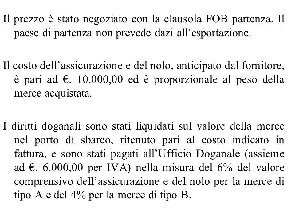Il prezzo è stato negoziato con la clausola FOB partenza. Il paese di partenza non prevede dazi all'esportazione. Il costo dell'assicurazione e del no