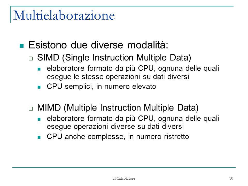 Il Calcolatore 10 Multielaborazione Esistono due diverse modalità:  SIMD (Single Instruction Multiple Data) elaboratore formato da più CPU, ognuna de