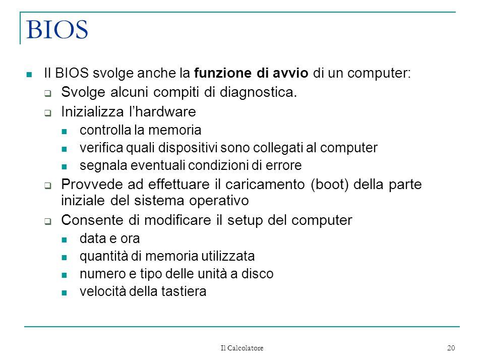 Il Calcolatore 20 BIOS Il BIOS svolge anche la funzione di avvio di un computer:  Svolge alcuni compiti di diagnostica.  Inizializza l'hardware cont