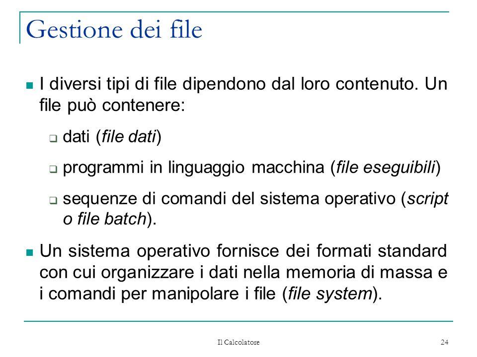 Il Calcolatore 24 Gestione dei file I diversi tipi di file dipendono dal loro contenuto. Un file può contenere:  dati (file dati)  programmi in ling