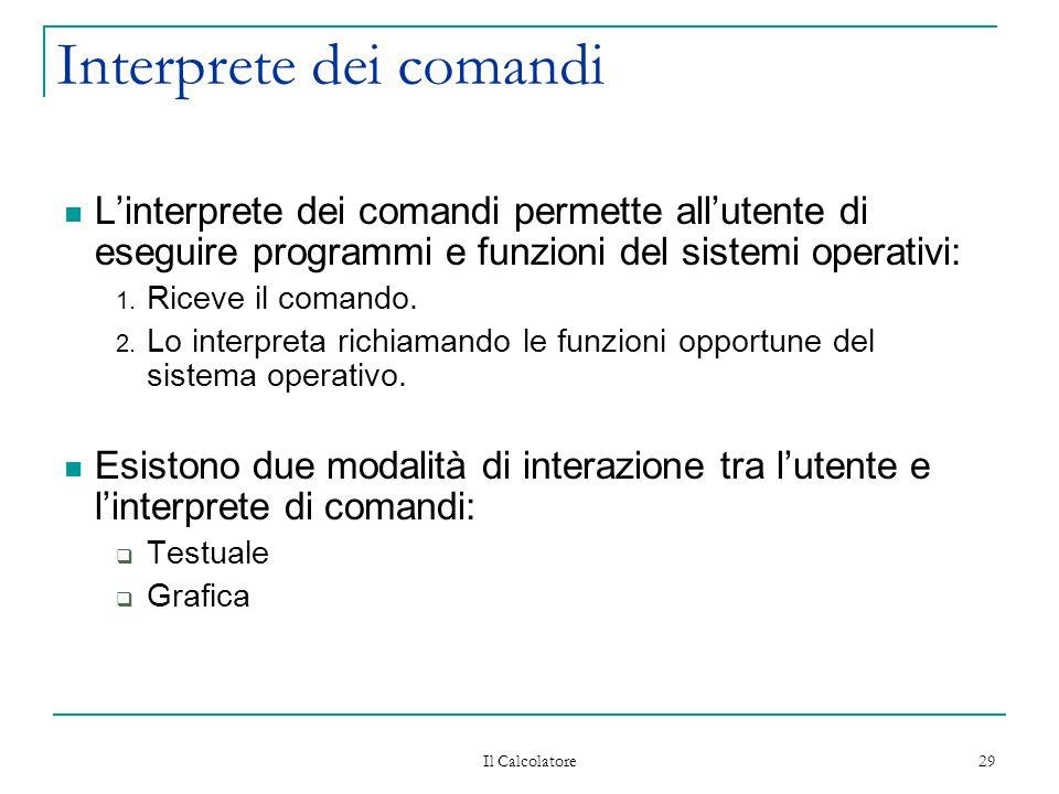 Il Calcolatore 29 Interprete dei comandi L'interprete dei comandi permette all'utente di eseguire programmi e funzioni del sistemi operativi: 1. Ricev