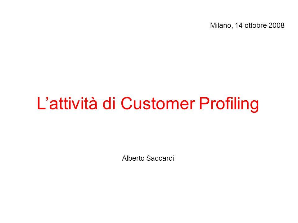 L'attività di Customer Profiling Alberto Saccardi Milano, 14 ottobre 2008