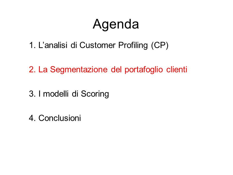 Agenda 1.L'analisi di Customer Profiling (CP) 2. La Segmentazione del portafoglio clienti 3.