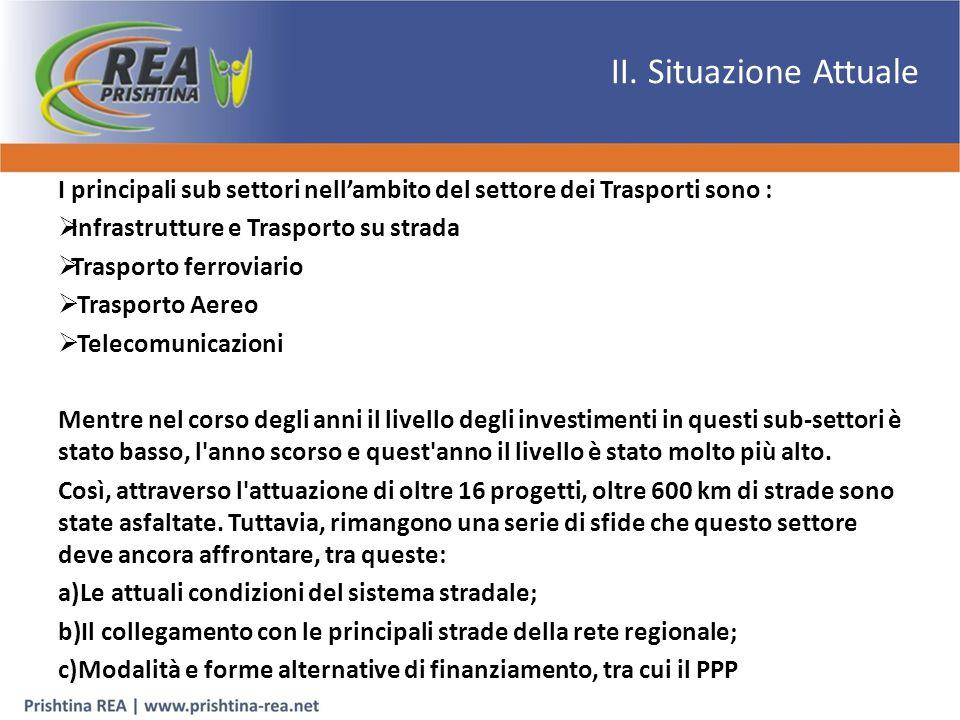 II. Situazione Attuale I principali sub settori nell'ambito del settore dei Trasporti sono :  Infrastrutture e Trasporto su strada  Trasporto ferrov