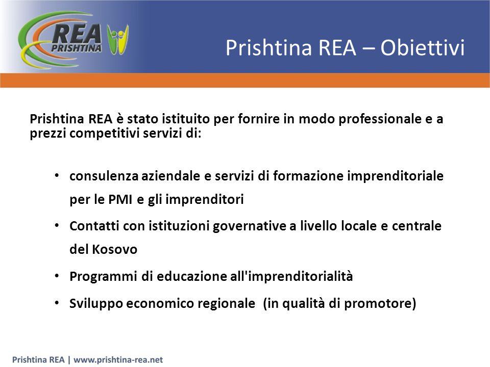 Prishtina REA – Obiettivi Prishtina REA è stato istituito per fornire in modo professionale e a prezzi competitivi servizi di: consulenza aziendale e servizi di formazione imprenditoriale per le PMI e gli imprenditori Contatti con istituzioni governative a livello locale e centrale del Kosovo Programmi di educazione all imprenditorialità Sviluppo economico regionale (in qualità di promotore)