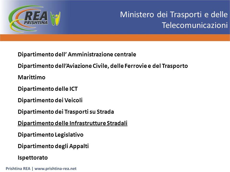 Dipartimento delle Infrastrutture Stradali Il Dipartimento delle infrastrutture stradali è uno degli otto dipartimenti interni al Ministero dei Trasporti e delle Telecomunicazioni.