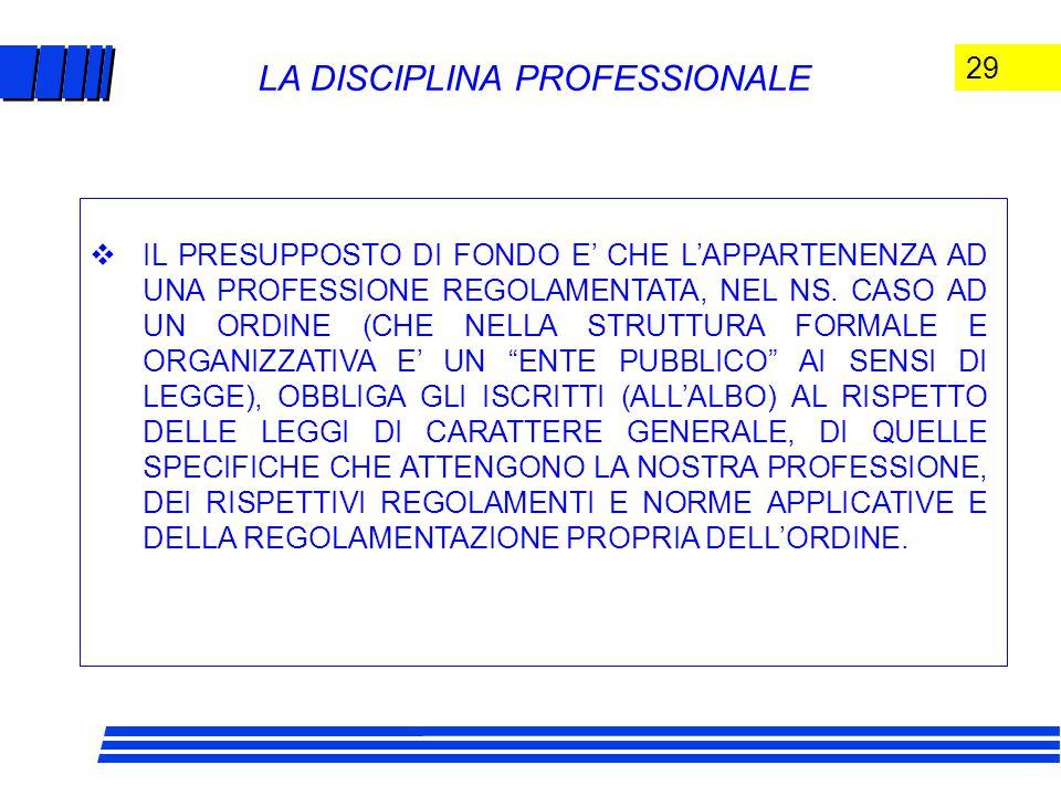 29 LA DISCIPLINA PROFESSIONALE  IL PRESUPPOSTO DI FONDO E' CHE L'APPARTENENZA AD UNA PROFESSIONE REGOLAMENTATA, NEL NS.