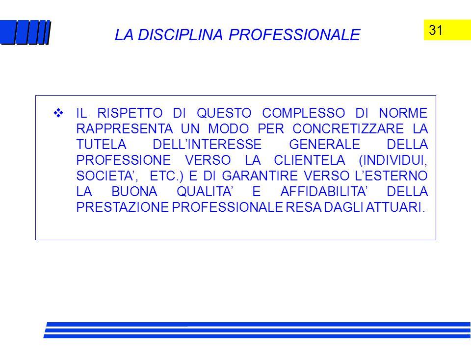 31 LA DISCIPLINA PROFESSIONALE  IL RISPETTO DI QUESTO COMPLESSO DI NORME RAPPRESENTA UN MODO PER CONCRETIZZARE LA TUTELA DELL'INTERESSE GENERALE DELLA PROFESSIONE VERSO LA CLIENTELA (INDIVIDUI, SOCIETA', ETC.) E DI GARANTIRE VERSO L'ESTERNO LA BUONA QUALITA' E AFFIDABILITA' DELLA PRESTAZIONE PROFESSIONALE RESA DAGLI ATTUARI.