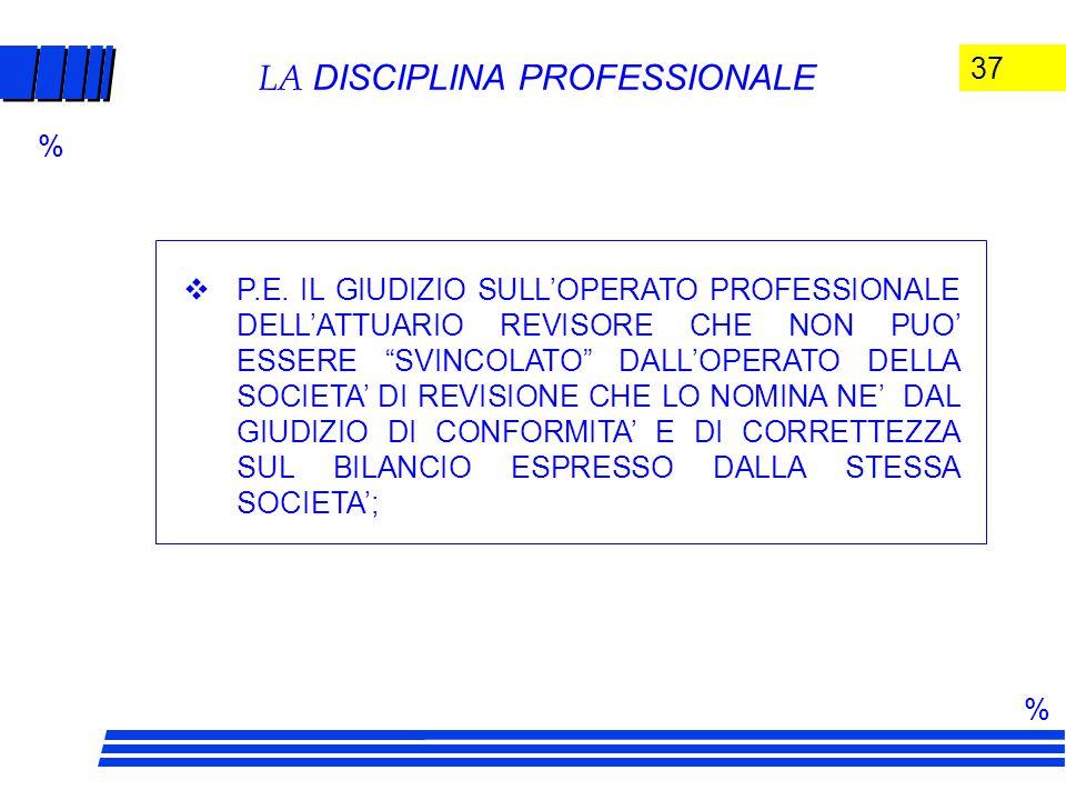 37 LA DISCIPLINA PROFESSIONALE  P.E.