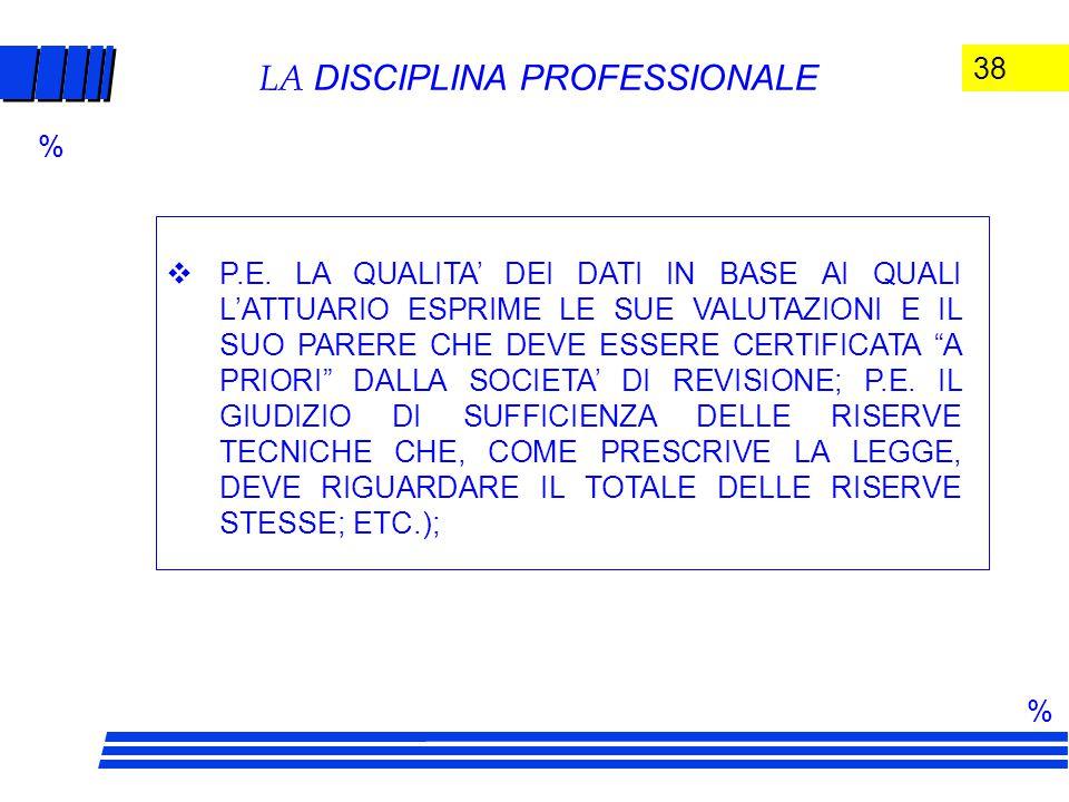 38 LA DISCIPLINA PROFESSIONALE  P.E.