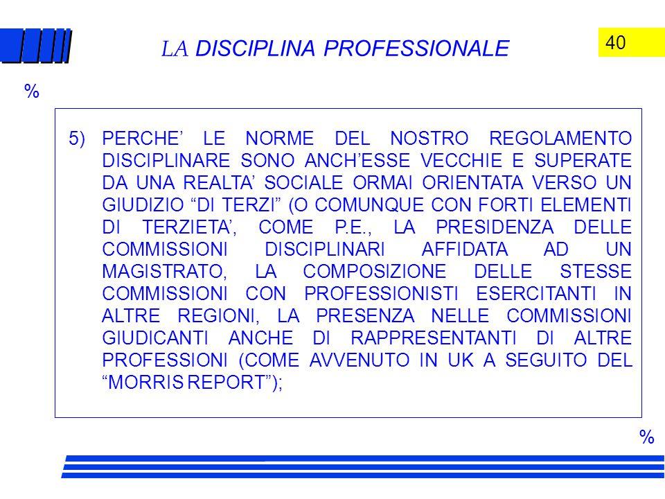 40 LA DISCIPLINA PROFESSIONALE 5)PERCHE' LE NORME DEL NOSTRO REGOLAMENTO DISCIPLINARE SONO ANCH'ESSE VECCHIE E SUPERATE DA UNA REALTA' SOCIALE ORMAI ORIENTATA VERSO UN GIUDIZIO DI TERZI (O COMUNQUE CON FORTI ELEMENTI DI TERZIETA', COME P.E., LA PRESIDENZA DELLE COMMISSIONI DISCIPLINARI AFFIDATA AD UN MAGISTRATO, LA COMPOSIZIONE DELLE STESSE COMMISSIONI CON PROFESSIONISTI ESERCITANTI IN ALTRE REGIONI, LA PRESENZA NELLE COMMISSIONI GIUDICANTI ANCHE DI RAPPRESENTANTI DI ALTRE PROFESSIONI (COME AVVENUTO IN UK A SEGUITO DEL MORRIS REPORT ); % %