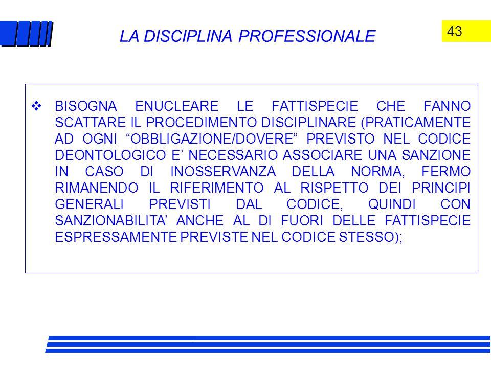 43 LA DISCIPLINA PROFESSIONALE  BISOGNA ENUCLEARE LE FATTISPECIE CHE FANNO SCATTARE IL PROCEDIMENTO DISCIPLINARE (PRATICAMENTE AD OGNI OBBLIGAZIONE/DOVERE PREVISTO NEL CODICE DEONTOLOGICO E' NECESSARIO ASSOCIARE UNA SANZIONE IN CASO DI INOSSERVANZA DELLA NORMA, FERMO RIMANENDO IL RIFERIMENTO AL RISPETTO DEI PRINCIPI GENERALI PREVISTI DAL CODICE, QUINDI CON SANZIONABILITA' ANCHE AL DI FUORI DELLE FATTISPECIE ESPRESSAMENTE PREVISTE NEL CODICE STESSO);