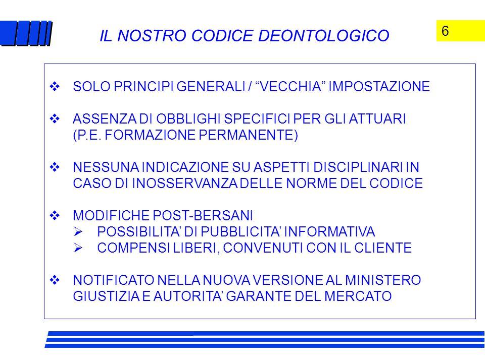6 IL NOSTRO CODICE DEONTOLOGICO  SOLO PRINCIPI GENERALI / VECCHIA IMPOSTAZIONE  ASSENZA DI OBBLIGHI SPECIFICI PER GLI ATTUARI (P.E.