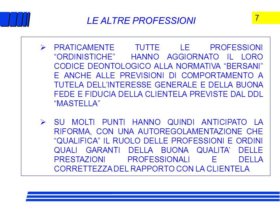 7 LE ALTRE PROFESSIONI  PRATICAMENTE TUTTE LE PROFESSIONI ORDINISTICHE HANNO AGGIORNATO IL LORO CODICE DEONTOLOGICO ALLA NORMATIVA BERSANI E ANCHE ALLE PREVISIONI DI COMPORTAMENTO A TUTELA DELL'INTERESSE GENERALE E DELLA BUONA FEDE E FIDUCIA DELLA CLIENTELA PREVISTE DAL DDL MASTELLA  SU MOLTI PUNTI HANNO QUINDI ANTICIPATO LA RIFORMA, CON UNA AUTOREGOLAMENTAZIONE CHE QUALIFICA IL RUOLO DELLE PROFESSIONI E ORDINI QUALI GARANTI DELLA BUONA QUALITA' DELLE PRESTAZIONI PROFESSIONALI E DELLA CORRETTEZZA DEL RAPPORTO CON LA CLIENTELA