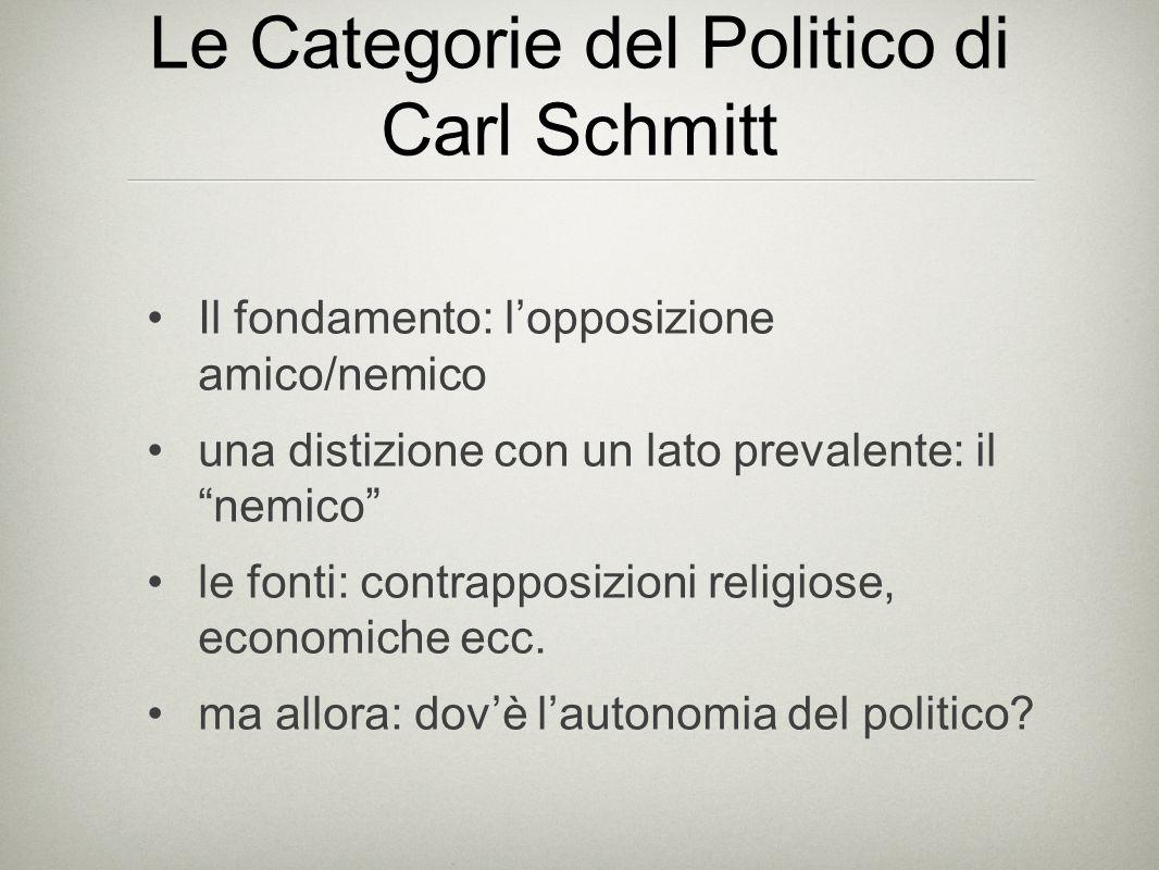 Le Categorie del Politico di Carl Schmitt Il fondamento: l'opposizione amico/nemico una distizione con un lato prevalente: il nemico le fonti: contrapposizioni religiose, economiche ecc.