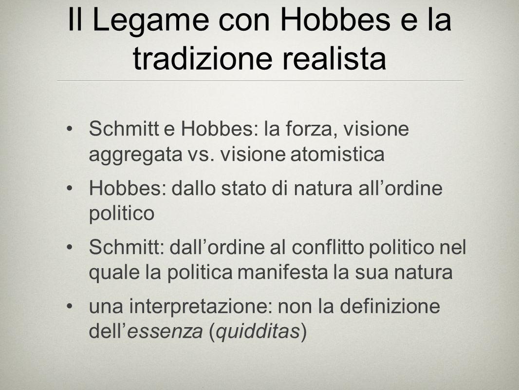 Il Legame con Hobbes e la tradizione realista Schmitt e Hobbes: la forza, visione aggregata vs.