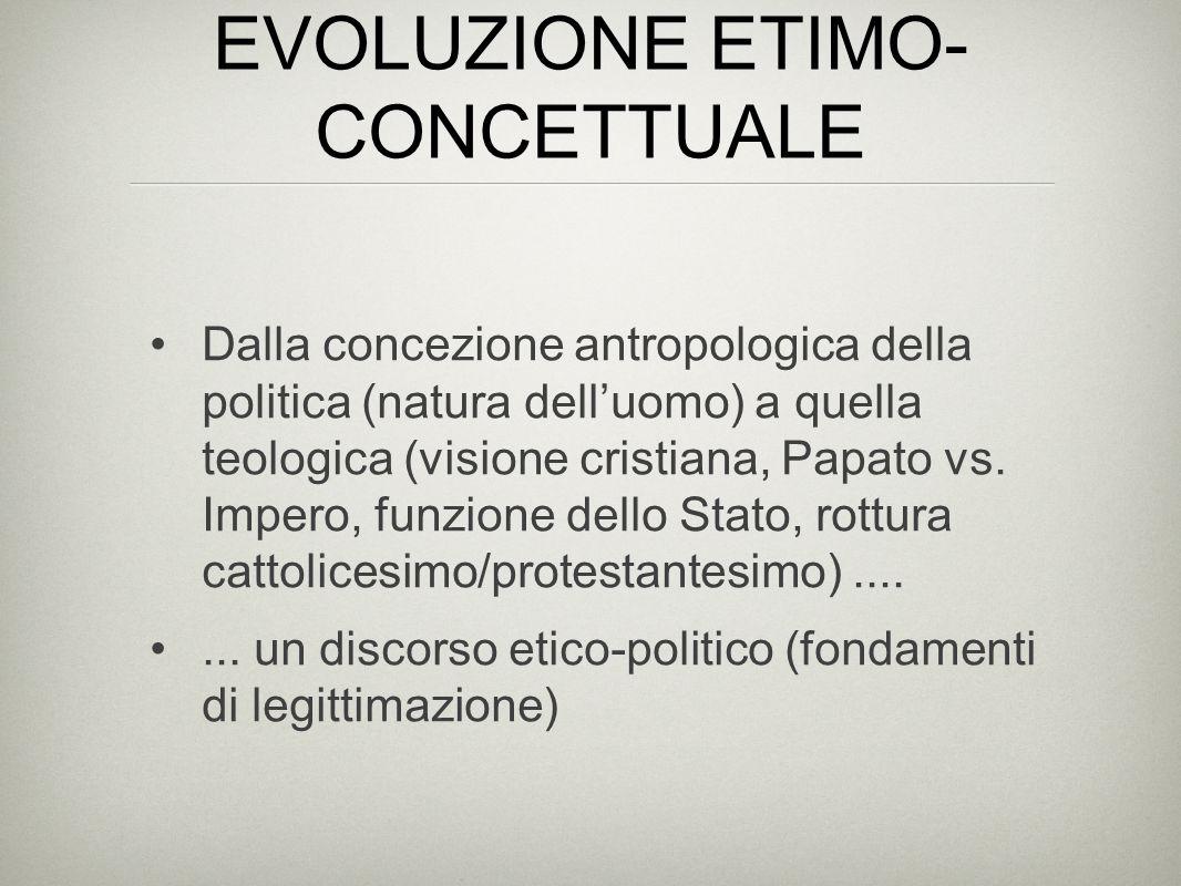 EVOLUZIONE ETIMO- CONCETTUALE L'Autonomia della politica: diversa indipendente (segue leggi proprie) autosufficiente (basta a spiegare se stessa) causa prima (primato della politica)