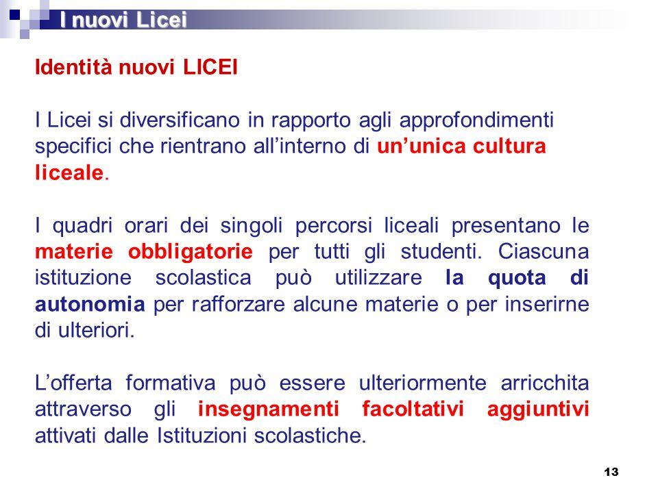 Identità nuovi LICEI I Licei si diversificano in rapporto agli approfondimenti specifici che rientrano all'interno di un'unica cultura liceale. I quad