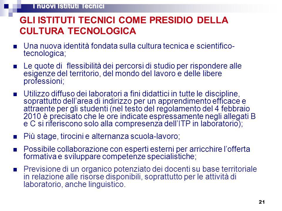 21 GLI ISTITUTI TECNICI COME PRESIDIO DELLA CULTURA TECNOLOGICA Una nuova identità fondata sulla cultura tecnica e scientifico- tecnologica; Le quote