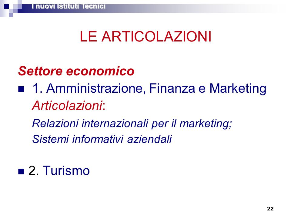22 LE ARTICOLAZIONI Settore economico 1. Amministrazione, Finanza e Marketing Articolazioni: Relazioni internazionali per il marketing; Sistemi inform