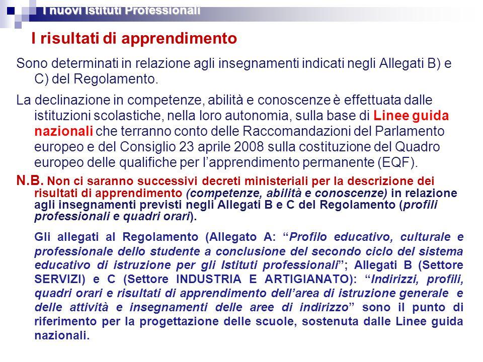 I risultati di apprendimento Sono determinati in relazione agli insegnamenti indicati negli Allegati B) e C) del Regolamento.