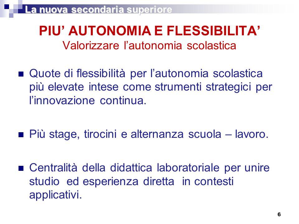 6 PIU' AUTONOMIA E FLESSIBILITA' Valorizzare l'autonomia scolastica Quote di flessibilità per l'autonomia scolastica più elevate intese come strumenti strategici per l'innovazione continua.