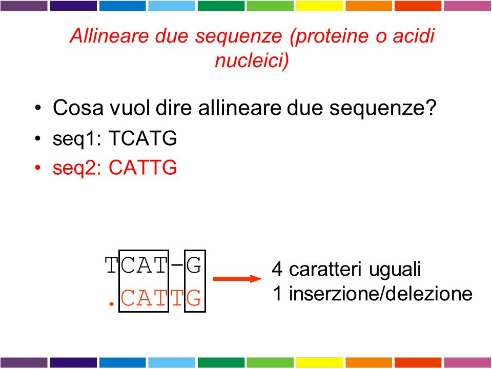ALLINEAMENTO DI SEQUENZE Procedura per comparare due o piu' sequenze, volta a stabilire un insieme di relazioni biunivoche tra coppie di residui delle