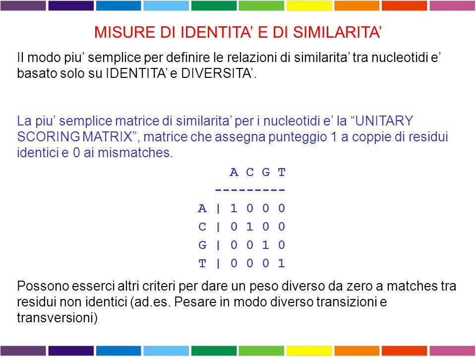 MISURE DI IDENTITA' E DI SIMILARITA' Si può misurare la similarità tra due sequenze in due diversi modi: Basato sulla percentuale di identità Basato s