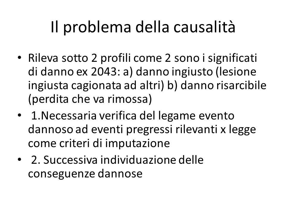 Il problema della causalità Rileva sotto 2 profili come 2 sono i significati di danno ex 2043: a) danno ingiusto (lesione ingiusta cagionata ad altri) b) danno risarcibile (perdita che va rimossa) 1.Necessaria verifica del legame evento dannoso ad eventi pregressi rilevanti x legge come criteri di imputazione 2.