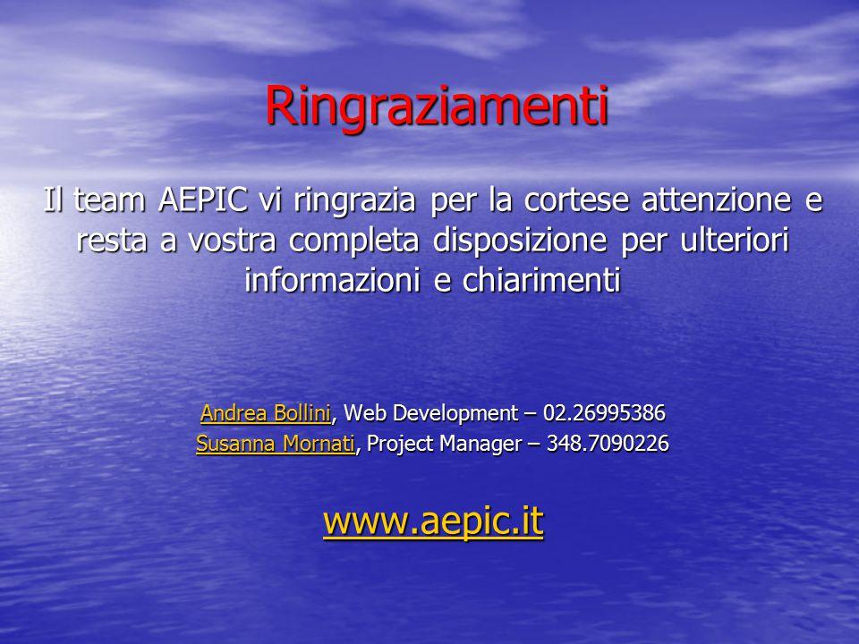 Ringraziamenti Il team AEPIC vi ringrazia per la cortese attenzione e resta a vostra completa disposizione per ulteriori informazioni e chiarimenti An